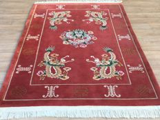 Very beautiful hand-knotted CHINA carpet with rare DRAGON MOTIF.