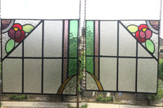 Two old beautiful stained glass windows (suncatchers) with mosaic pieces, of the Amsterdam School - late 19th century