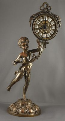 Bronze/brass putto clock - approx. 1960