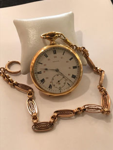 Zenith pocket watch with its pink gold chain