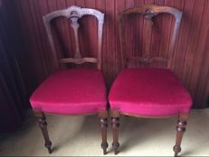 Two burgundy-red French chairs, ca 1900
