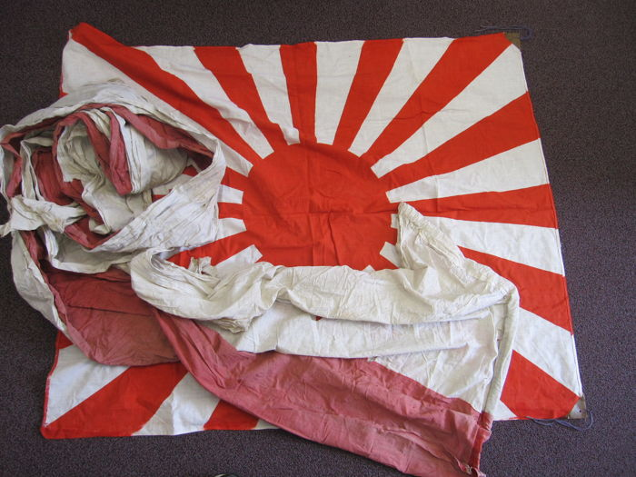 Set of large Japanese imperial rising sun flag and huge windsock banner – WWII period
