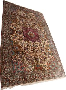 Rare antique handmade Persian wool and silk Qom carpet circa 1910