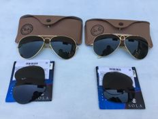 Two pairs of original Ray-Ban B&L and two pairs of prescription and sunglass lenses.