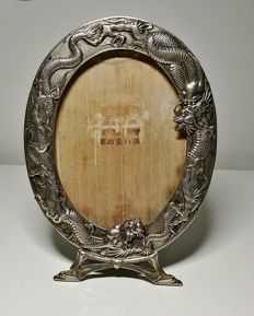 Wonderful photo frame in silver–plated metal – China – Late 19th century/early 20th century