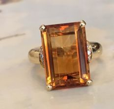 18 kt yellow gold women's ring with citrine and  diamond, 0.10 ct - size: 17.75 mm