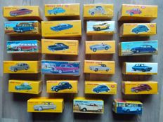 Dinky Toys-Atlas - Scale 1/43 - lot with 23 models: Mercedes-Benz, Simca, Citroen, Austin Healy, Volvo, Peugeot & Ford
