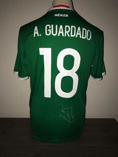 Andres Guardado Mexico home shirt 2016-2017 with photo of the signing time and certificate of authenticity