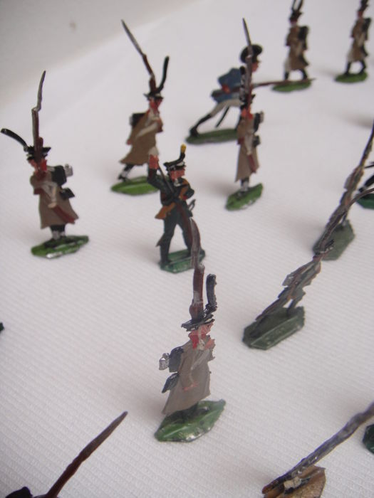 An  - 35 Napoleonic flat tin painted soldiers - 50/60s
