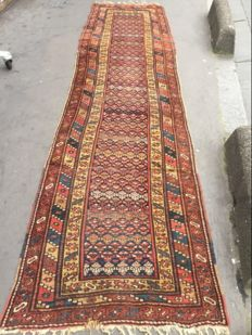 Pretty vintage Persian Kurdish carpet for a corridor, handmade, 97 x 360 cm