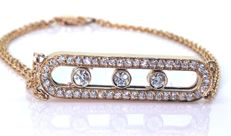 14 kt Bracelet with 47 moving diamonds of 0.70 ct in total - Length 17.50 cm