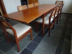 Topform, vintage mid-century modern teak dining table and chairs, extending elongated table with eight chairs