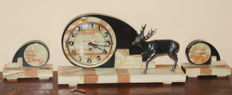 Large Tripartite Marble Art Deco Clock with Statue of a Deer