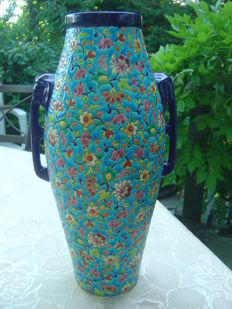 Emaux De Longwy - Vase decorated with Apple Blooms - Elephant handles