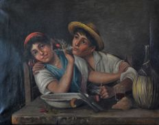 A. Stanio. (19/20th century)  A young man blows smoke at his pretty girlfriend.