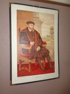 "Very nice old school poster from ""Charles V"" from the series historical portraits, first edition"