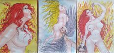 Original work;  Lot of 3 pictures by  Eduard Dill- 2017