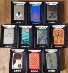 "Rare Collection of 10 Limited Edition ""Find the Hidden Z"" Zippo lighters in original box with pappers"