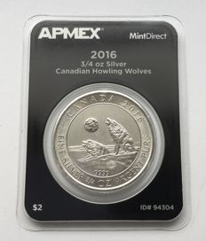 Canada - 2 dollars-2016 'Howling Wolves' - 3/4 oz silver Mint direct single quality
