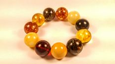 Round beads modified mix colour Baltic amber bracelet, 48 grams