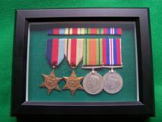 WW2 British 4 x Medals, Framed Complete With Medal Ribbon Bar
