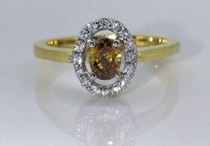 Diamond ring with natural fancy colour diamonds with IGI certificate - Surrounded by 16 diamonds -  ring size: 54 / 17.87 mm