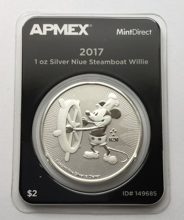 Niue – 2 dollars 2017 'Steamboat Willie' – 1 oz silver