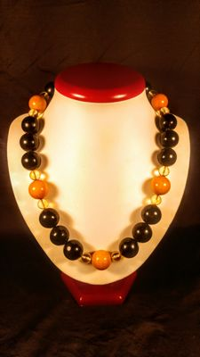 Round beads modified Baltic Amber necklace, length 53 cm