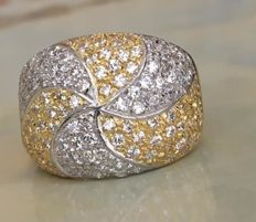 Parrini – 18 kt white and yellow gold ring with diamonds, approx. 1.12 ct, G/VVS – ring size 17.75 mm