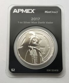 "Niue: 1 oz silver of Star Wars ""Darth Vader"" in Mint Direct single quality"
