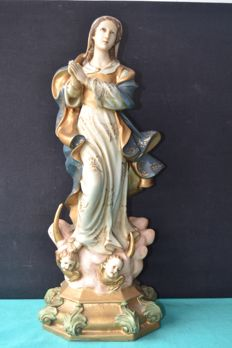 Large Our Lady of Conceição - Sculpture polychrome stone powde -  Portugal 1950