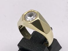 14 kt gold men's pinky ring set with faceted zirconia - size 17 ***No reserve***