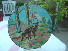 Longwy Enamel - Large flat plate, decorated with deer