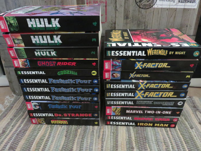 Collection Of Marvel Essentials Paperback Books - Including Dr. Strange, Fantastic Four, Hulk, Iron Man + Many More - x20 SC