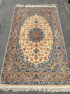 Very pretty vintage Persian Ispahan carpet, very fine, handmade, 109 x 182 cm