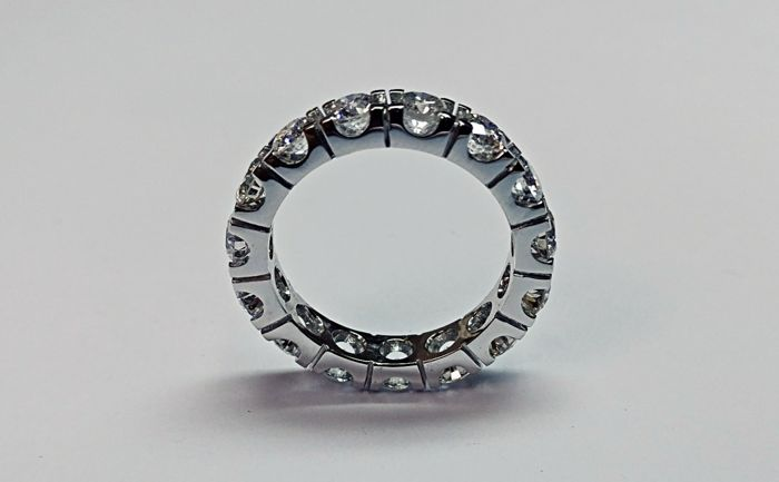 White Gold Eternity Ring with Brilliant cut diamonds D-E color and VS clarity total 3.54 ct Ring Size 55 / 17.5 mm