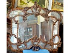 Wall mirror with an original carved, plastered and gilded wood frame, around 1900, Italian