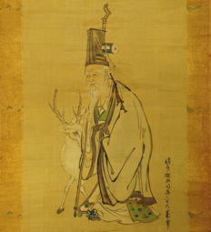 "Antique hanging scroll - ""Jurojin"" by Kano Tan'yu - Japan - ca. 1650 (Edo Period)"