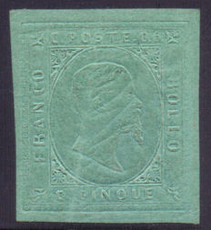 Sardinia, 1853 – 5 cents, green, 2nd issue