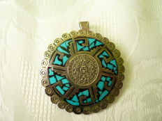 Large pendant with turquoise (Maya calendar), solid genuine silver from Yucatan, Mexico, 1985, rarity