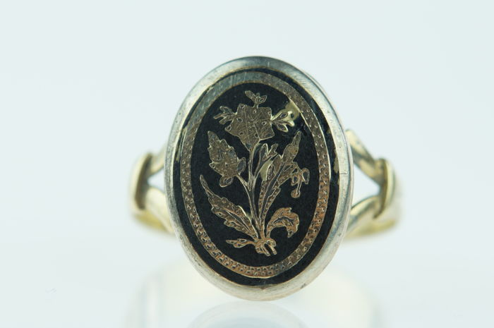 antique 14 karat gold enamel signet ring ca 1900 no