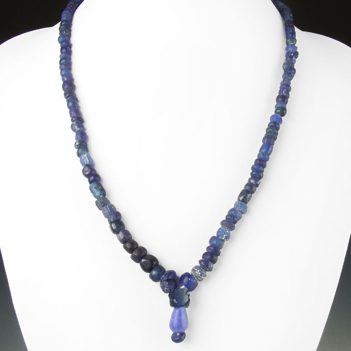 Necklace with Roman blue glass beads - 50cm