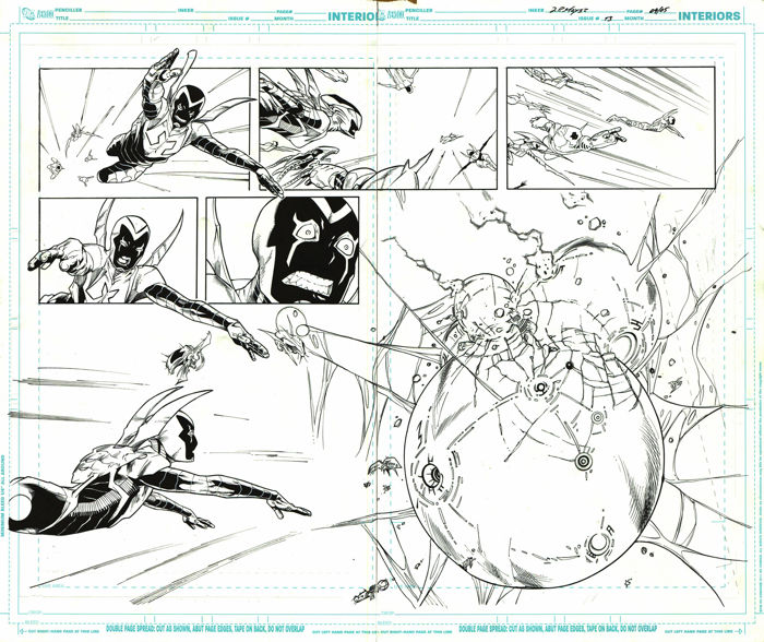 Blue Beetle #13 Pages 4 and 5  - Original Artwork by IG Guara and Z. P. Mayer - Loose Page - First Edition - (2012)