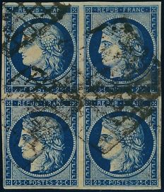 France 1850 - Cérès 25 centimes, dark blue, in block of 4, signed Brun with certificate - Yvert no. 4