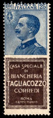 "Italy, Kingdom 1924 - Advertizing Stamps ""Tagliacozzo"" 25 cents - Sass. no. 8"