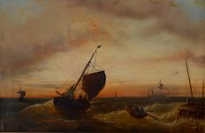 F. Rossett 19th Century Large Marine Scene - Ships in Rough Waters