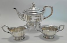 Three pieced silver tea set, oval and profile, Gebr. Deyhle, Germany, 20th century