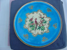 Longwy enamel - Large flat dish with birds on a floral background, signed in the hollow