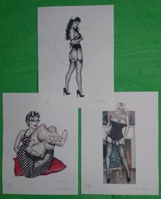 Art Print; Lot of 3 pin-up plates by Giovanna Casotto - 2017