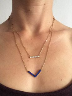 Pave Bar & Arrow Pendant Necklace